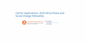 2020 Africa Peace and Social Change Fellowship
